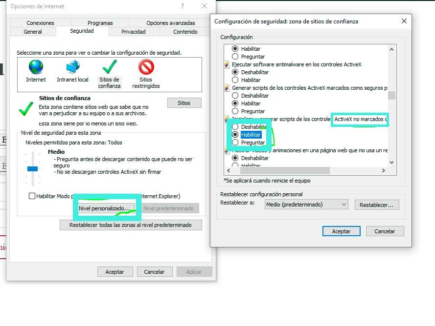 configurar el Internet Explorer para entrar al IDSE
